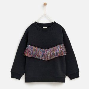 Zara girls blue navy colorful fringe sweatshirt